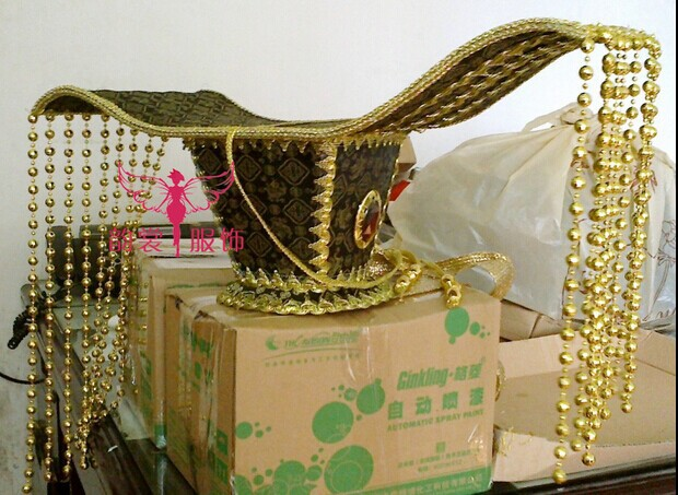 Gorgeous Ancient Chinese Emperor's Hair Tiaras 03 red gold bride wedding hair tiaras ancient chinese empress hat bride hair piece