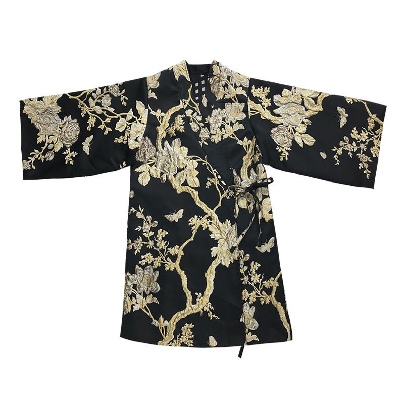 Ceinture Sellworlder Ukiyo Deux Manteaux Long Two 2018 e Côté Style Japon Vestes Coton Or Fleur Broderie Side Arbre Argent Épais ZwxxqdtcO1