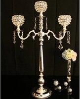 H76cm 3 филиал стекло висит tealight держателей пол свадьбы канделябры Подсвечник с хрустальный шар ZT 2201