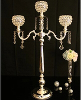 H76cm 3 branch glass hanging tealight holders floor wedding candelabra candlestick candle holder with crystal ball ZT 2201