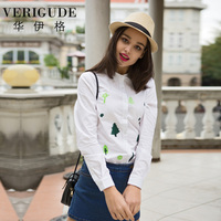 Veri Gude Women S Casual Shirts Cotton White Blouses With Embroidery Mini Trees Decoration