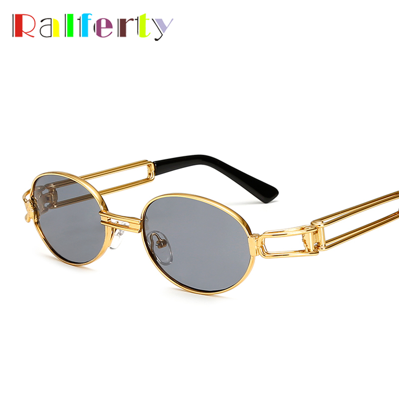 Ralferty rétro petit rond lunettes de soleil hommes mâle Vintage Steampunk lunettes de soleil femmes Hip Hop or lunettes lunettes UV400 lunette