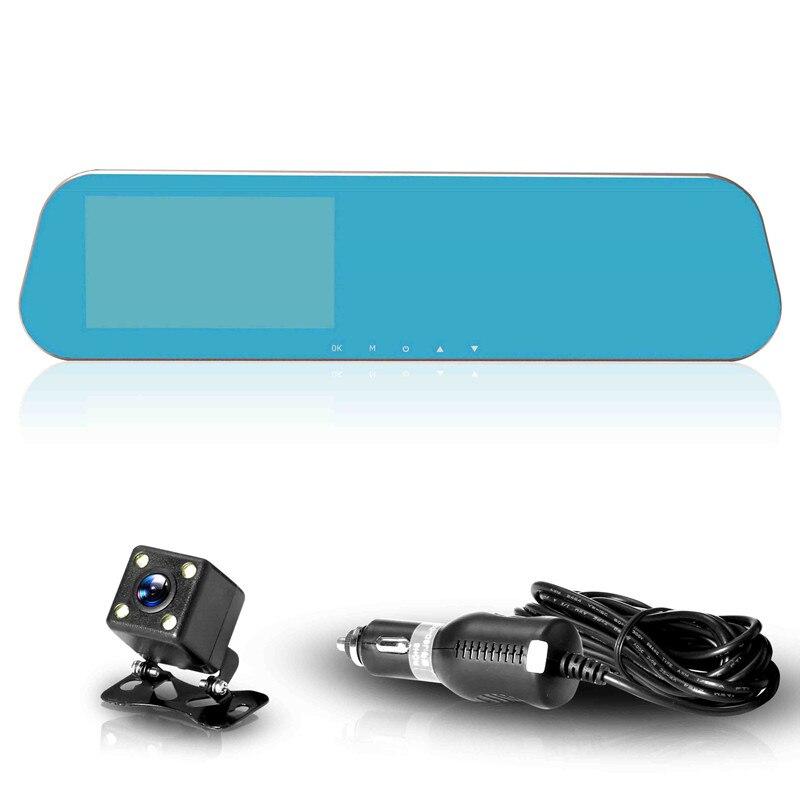 ADDKEY, Новейшая автомобильная DVR камера, зеркало заднего вида, двойной объектив, видеорегистратор, видео регистратор, видеокамера Full HD 1080 p, ночное видение, Автомобильные видеорегистраторы - Название цвета: Dual camera