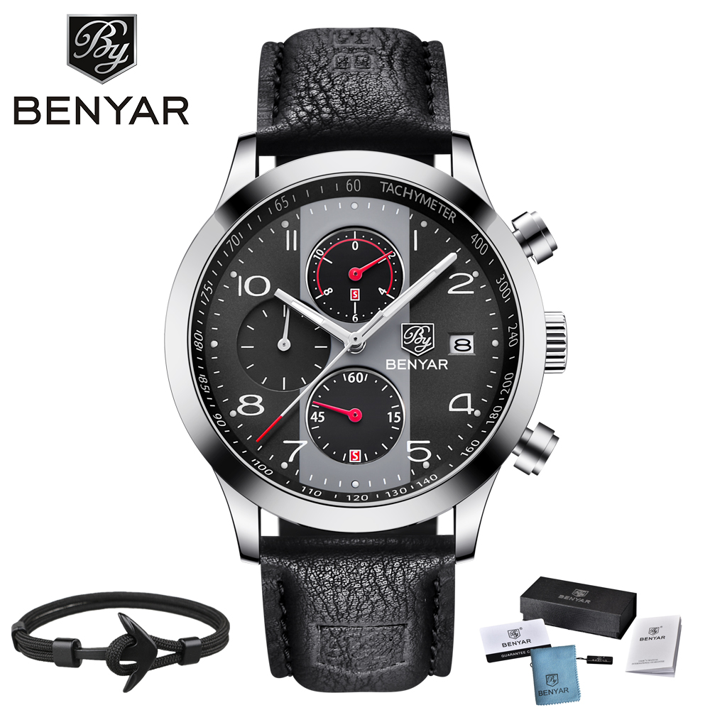 BENYAR Fashion Chronograph Watch Men Calendar Luxury Mens Watches Quartz Sport Waterproof Business Military Relogio Masculino цена 2017