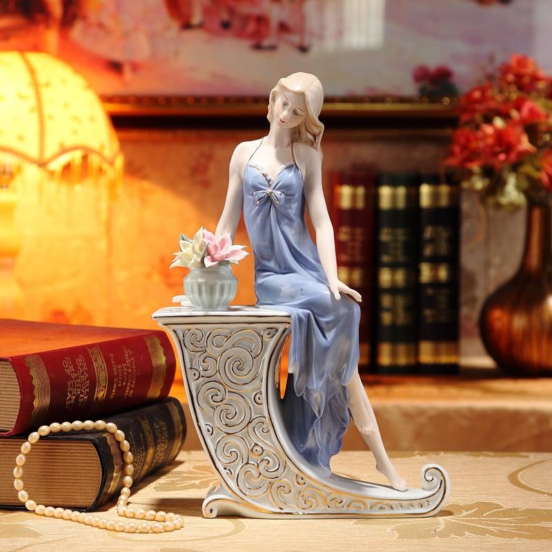 Porcelain Girl Statuette Ceramic Belle Figure Handicraft Ornament Accessories Furnishing for Home Decor and Valentine s