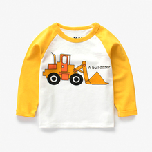 2018 New Arrival Autumn Clothes Boys Long Sleeve Tshirt Excavator 100% Cotton 4 Colors