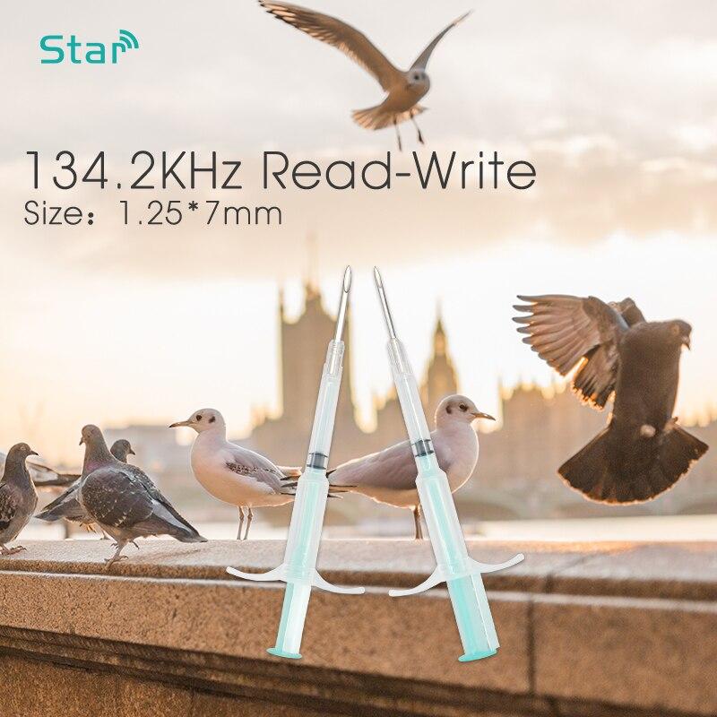 100 stücke Pet 134,2 khz glas Mikrochips ISO11784 FDX B Mini größe 1,25*7mm Tier Microchip Spritze Pet Id injektor für fisch/schildkröte-in IC/ID-Karte aus Sicherheit und Schutz bei  Gruppe 1