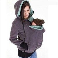 Outono Manter Aquecido Mães Multi-funcional saco de Dormir Do Bebê canguru Com Capuz Removível Com Zíper Hoodies Ocasionais das Mulheres Bolsa Gato de Estimação