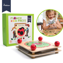 MiDeer Kids Flower and Leaf Press Nature Craft Happy Time Wooden Art Kit Outdoor Play Learning