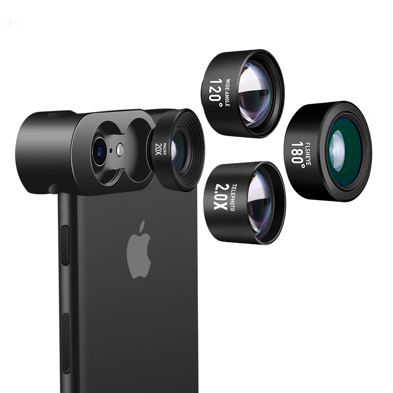 Telephoto Lens Wide Angle Fisheye Lens Special Effect Lens for iphone X 8 7 plus Three in One Design High end Metal Body Lens