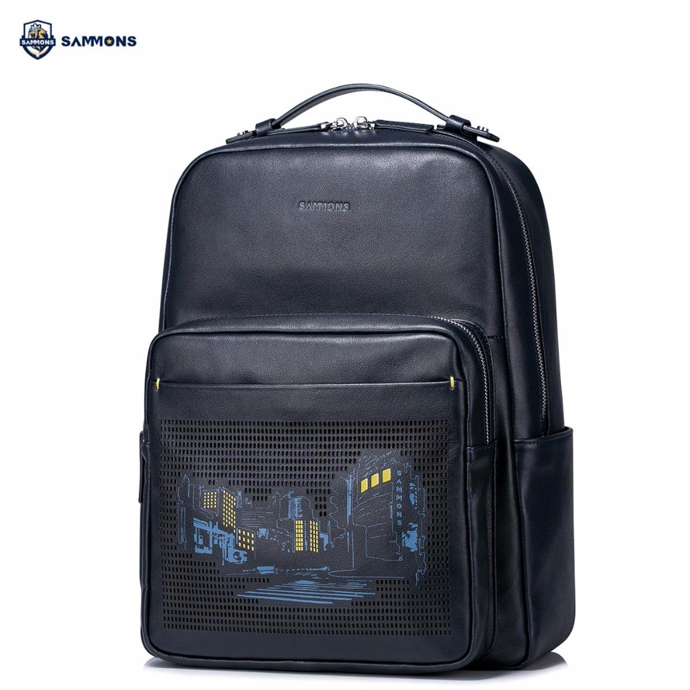 SAMMONS Brand New Design Fashion Embossed Genuine Cow Leather Men Backpacks Casual Travel College School Shoulders Bag foru design 600d fashion backpack brand design school book bag polyester bag men computer packsack swiss outsports backpacks