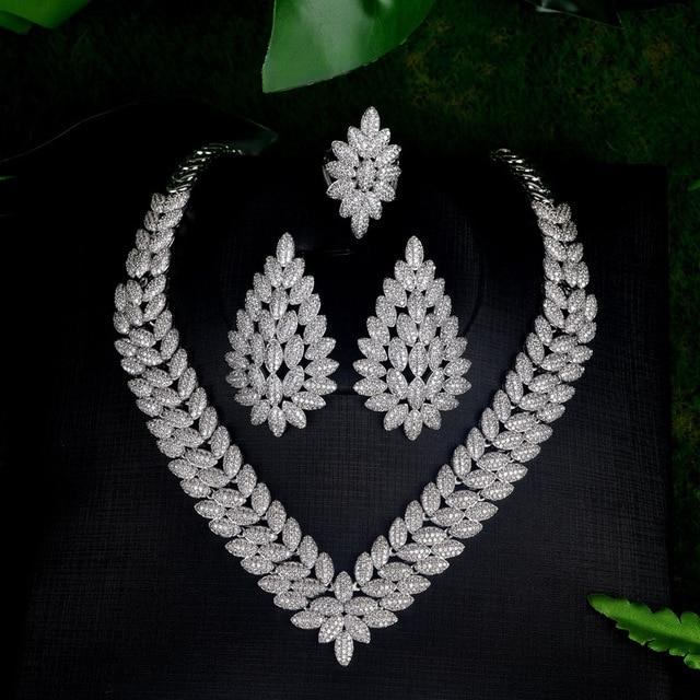 Купить 4 шт/комплект женские свадебные ювелирные украшения с фианитом картинки