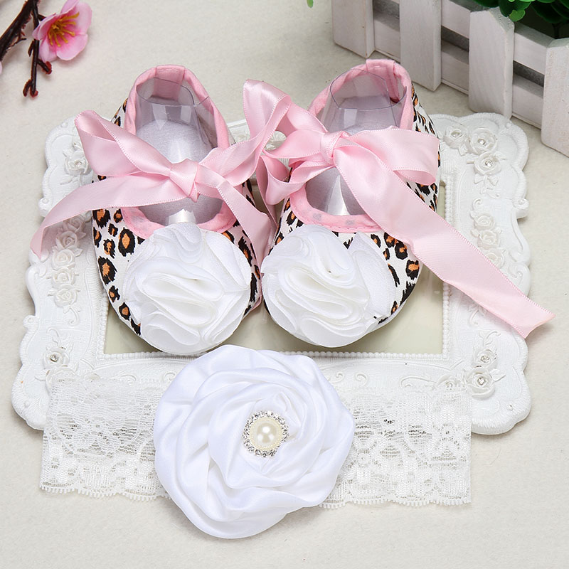 Christeningfesta baptism baby girl shoes Headbands set aby Soft Crib Shoes Ballerina Crib Soft Sole walker shoesSoft Crib Shoes