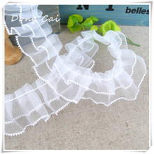 2cm 45yards/lot white no stretch Pleated Ruffle lace clothes accessories,eva cloth edge spot chiffon lace,DIY Handmade Lace Trim
