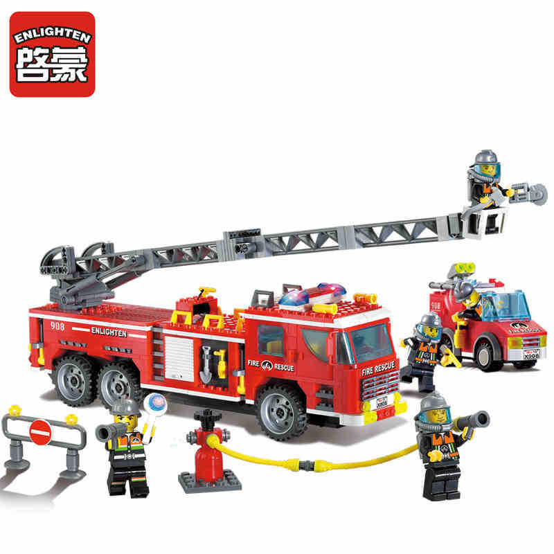 908 ENLIGHTEN Scaling Ladder Fire Rescue Truck Firefighting Model Building Blocks DIY Figure Toys For Children Compatible Legoe 607pcs enlighten building block fire rescue scaling ladder fire engines 5 firemen educational diy toy for children