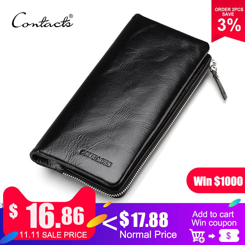CONTACT'S 2018 New Classical Genuine Leather Wallets Vintage Style Men Wallet Fashion Brand Purse Card Holder Long Clutch Wallet business long men wallet new fashion genuine leather pouch famous brand vintage purse card