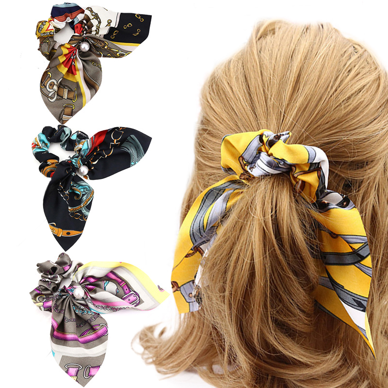 1PC Large Bowknot Hair Rope Lady Pearl Floral Printed Sweet Women Girls Elastic Hair Bands Accessories in Styling Accessories from Beauty Health