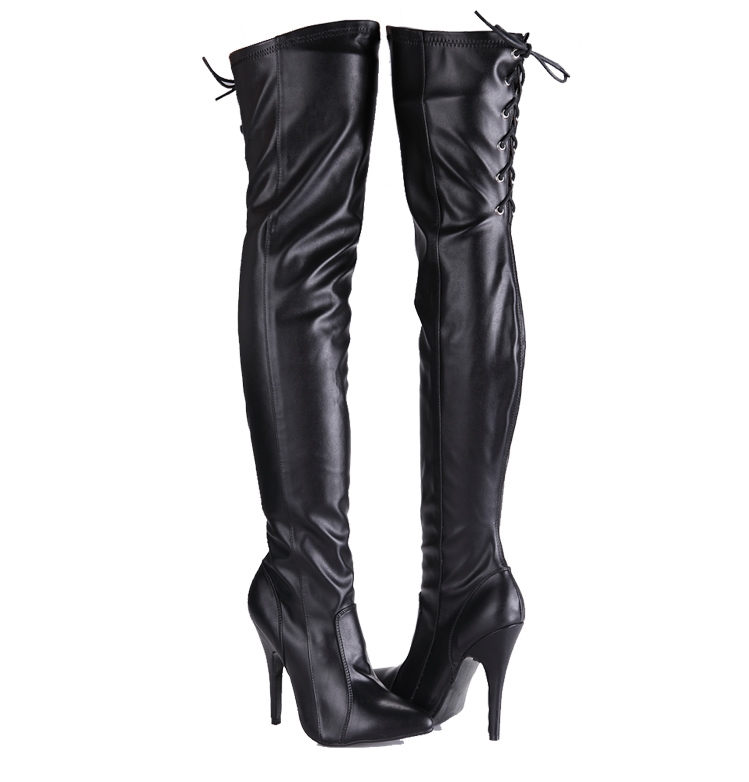 12cm rear strap slim stretch sexy high-heeled patent leather boots big size 5-13 - black
