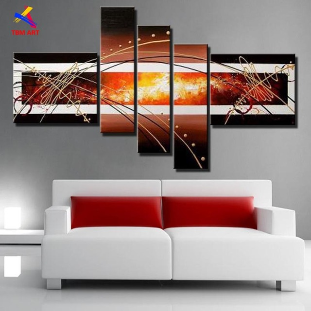 Direct From Artist Modern Abstract Oil Painting on Canvas Wall Art Home Decoration Gift No Framed 5pcs/set TBM Art   JYJZ046