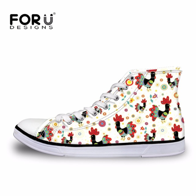 FORUDESIGNS Fashion Women High Top Canvas Shoes Cute Cartoon Tumblr Design Female Classic Vulcanized Shoes Ladies Lace-up Shoes