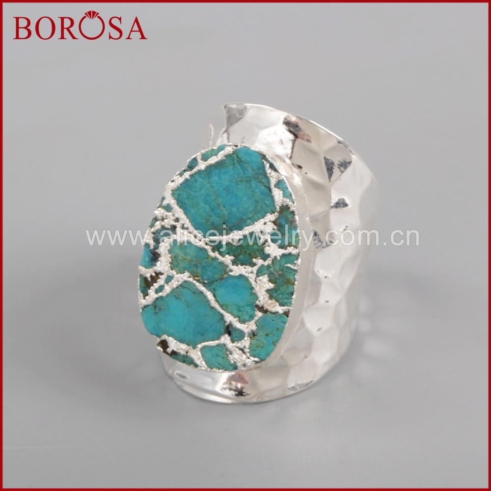 BOROSA sudraba krāsa 100% dabiskā zilā akmens Druzy joslas - Modes rotaslietas - Foto 6