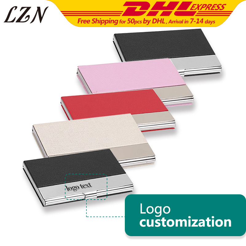 LZN Free Personalized Name Text Wish words 50pcs a Lot Genuine Leather Portable Bussiness Namecard Case