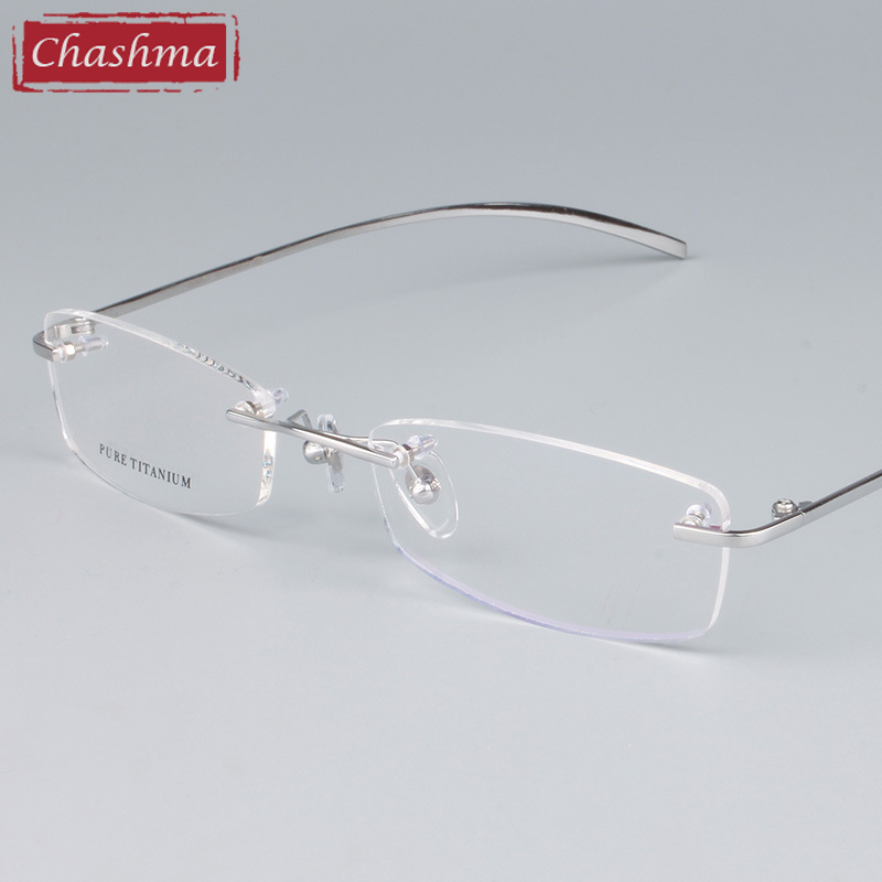 Chashma Unisex Glasses Eyewear Frames Titanium Rimless Glasses Rammer Female Male Optical Spectacles