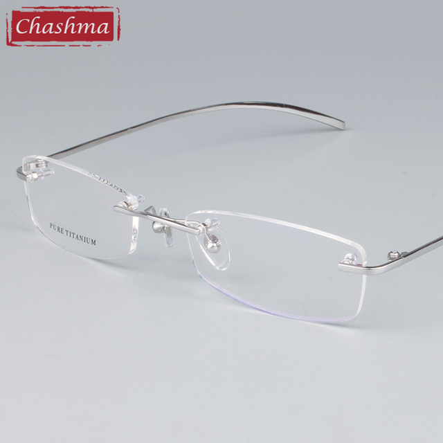 Chashma Unisex Óculos Armações de Óculos Sem Aro de Titânio Óculos Ópticos  Armações de Óculos Femininos 0f92854572