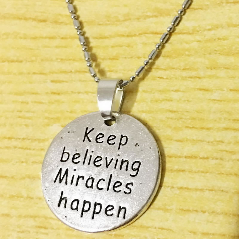 2PCS Keep Believing Miracles Happen Inspirational Necklace Graduation Awareness Survivor Friendship Quote Jewelry Gift image