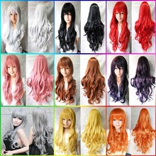 80cm long wavy black/red anime cosplay hair wigs,kanekalon pink/blond girl's synthetic hair wig,full hair brown party hair wigs
