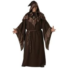 Monk Robe Religious Godfather Wizard Costume Adult Men Wizard Priest Outfit Dark Sorcerer Robe Halloween Cosplay Costume for Men