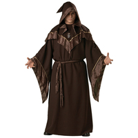 Monk Robe Religious Godfather Wizard Costume Adult Men Wizard Priest Outfit Dark Sorcerer Robe Halloween Cosplay Costume for Men
