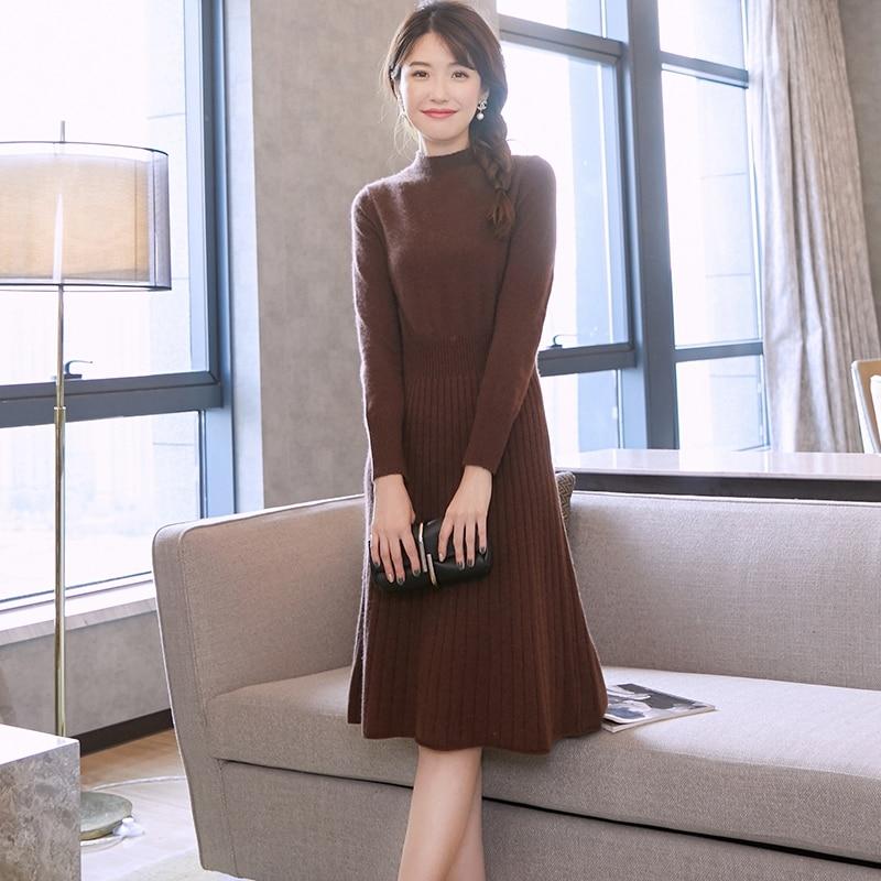 Femmes Robe 100% De Chèvre Cachemire Tricoté Pull D'hiver Nouvelle Mode Robes Longues Dames Pur Pashmina Tricots 6 Couleurs Fille Robe