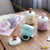 Ceramics Mug Originality Cute 3D Bear Rabbit Cartoon With Lid Cover As Mobile Phone Bracket Travel Coffee Mug Drinkware
