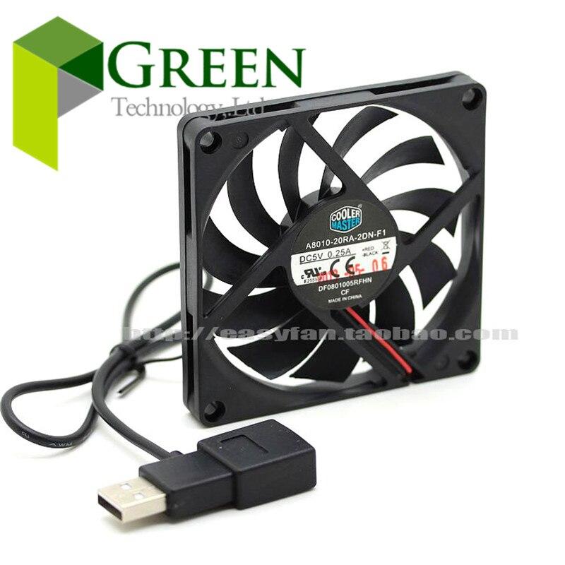 Cooler Master 8010 80MM 8cm 80*80*10mm  fan 5V 0.25A Super Silent  fan with usb connector Спиннер