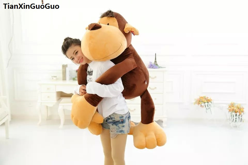 stuffed toy huge 110cm jungle monkey plush toy cartoon monkey soft doll hugging pillow birthday gift s0551 stuffed animal 44 cm plush standing cow toy simulation dairy cattle doll great gift w501