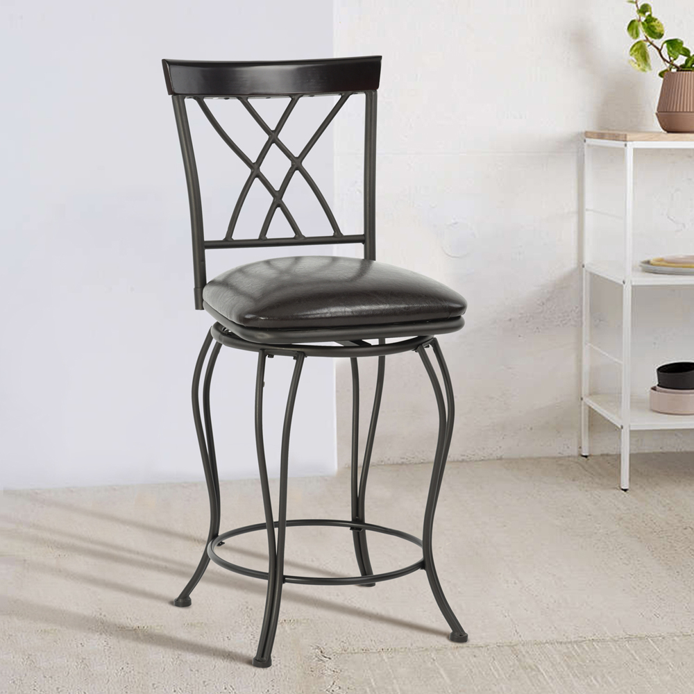 EGGREE Vintage Bar Stools PU Leather Padded Seat Bistro Dining Kitchen Pub 360 degree swivel Chair 9050a the artificial leather dining chair kitchen chair and iron chair are white according to the bar s kitchen family furn