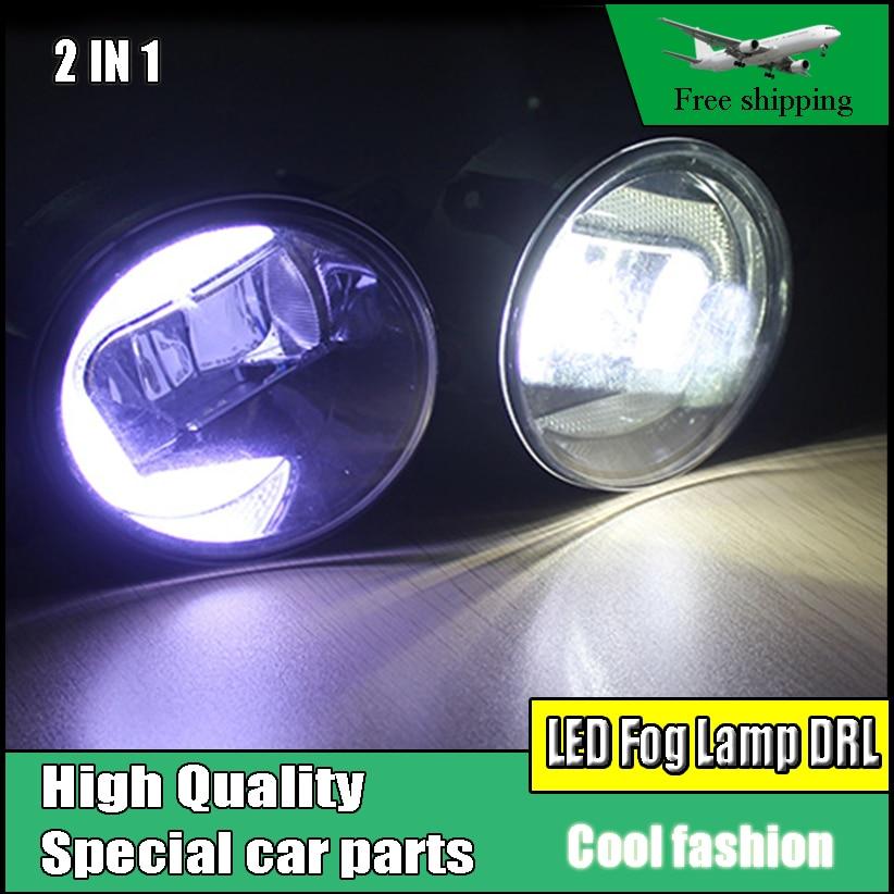 Стайлинга автомобилей 2 В 1 СИД DRL дневного света светильника тумана для Тойота Тундра 2014-2016 светодиодные Противотуманные фары дневного света DRL аксессуары