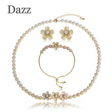 DAZZ Cubic Zircon Flower Thin Necklace Bracelets Earring Sets Three Tone Women Engagement Gifts Oorbellen Copper Jewelry Set(China)