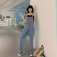 2019 Fashion Women Denim Jumpsuit Ladies Spring Fashion Loose Jeans Rompers Female Casual Plus Size Overall Playsuit With Pocket