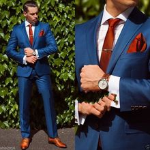 (Jacket+Pant+Tie+Handkerchiefs)Bule Wedding Suit For Men Formal Groom