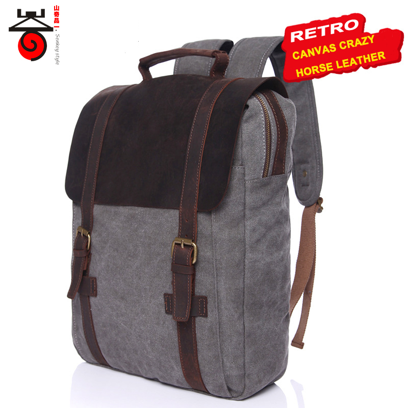 2017 Retro Style Men Women Vintage Canvas Backpacks Fashion Casual Travel Canvas Crazy Horse Leather Shoulder Bag Men's Rucksack personality retro men and women fashion large travel bag casual canvas handbag
