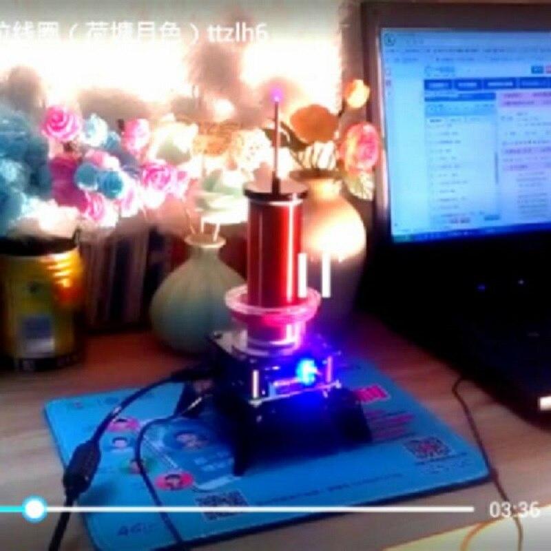 Générateur d'émetteur sans fil de bobine de Tesla de musique de haut-parleur de Plasma de puissance élevée + alimentation d'énergie de 24 V 2A