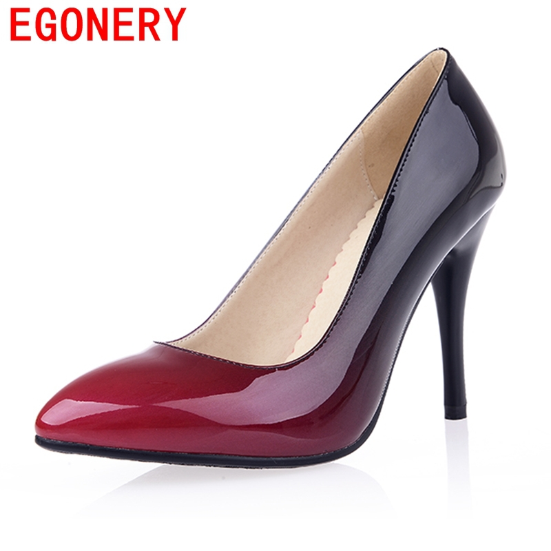 Egonery shoes 2017 patent leather women high heels footwear pointed toe high heel woman shoes plus