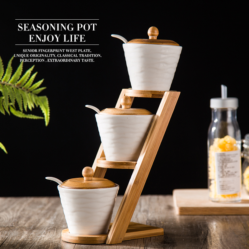 European Style creative gift Ceramic Salt Shaker Kitchen Supplies Salt Jar Condiments Containers with Bamboo Cover Tray 2 in 1 salt pepper shaker