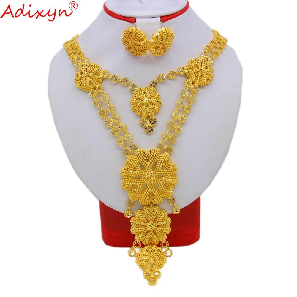 Adixyn Big Size lUXURY India Pliability Necklace/Earrings Jewelry Sets For Women Gold Color Ethiopian Engagement Gifts N09166