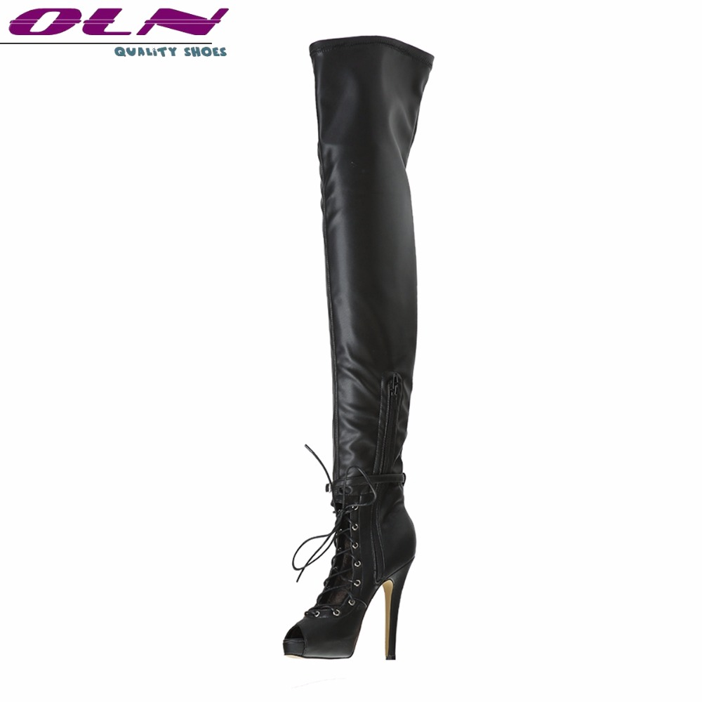 OLN New Fashion Sexy Women Thigh Super High Boots Peep Toe Over the Knee Boots Plus Size Plus size 3-16 Manual Customization приспособление для чистки поршневых канавок jtc 1349