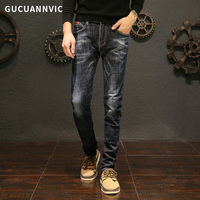 Men's brand mens jeans cotton solid color wild men of good quality jeans Straight men casual steady pants