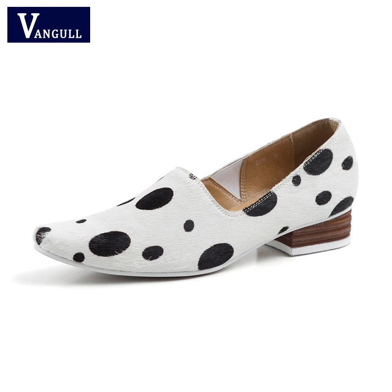Vangull Women Shoes Polka-Dot Real-Leather Spring Thick-Heels New Horsehair Casual Comfortable