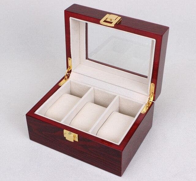 zlimsn 2017 3 grille bois montre affichage box case transparent lucarne bo te cadeau rouge de. Black Bedroom Furniture Sets. Home Design Ideas